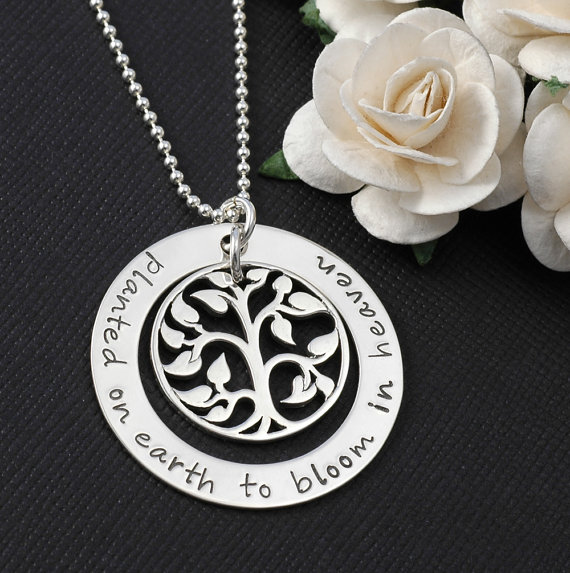 Planted Here On Earth to Bloom In Heaven Hand Stamped Necklace