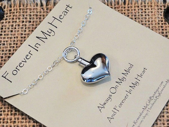 Sterling Silver Heart Cremation Necklace - Cremation Jewelry for Ashes