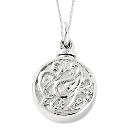 Sterling Silver Tear In Circle Ash Holder 18in Cremation Jewelry Necklace - Free Shipping