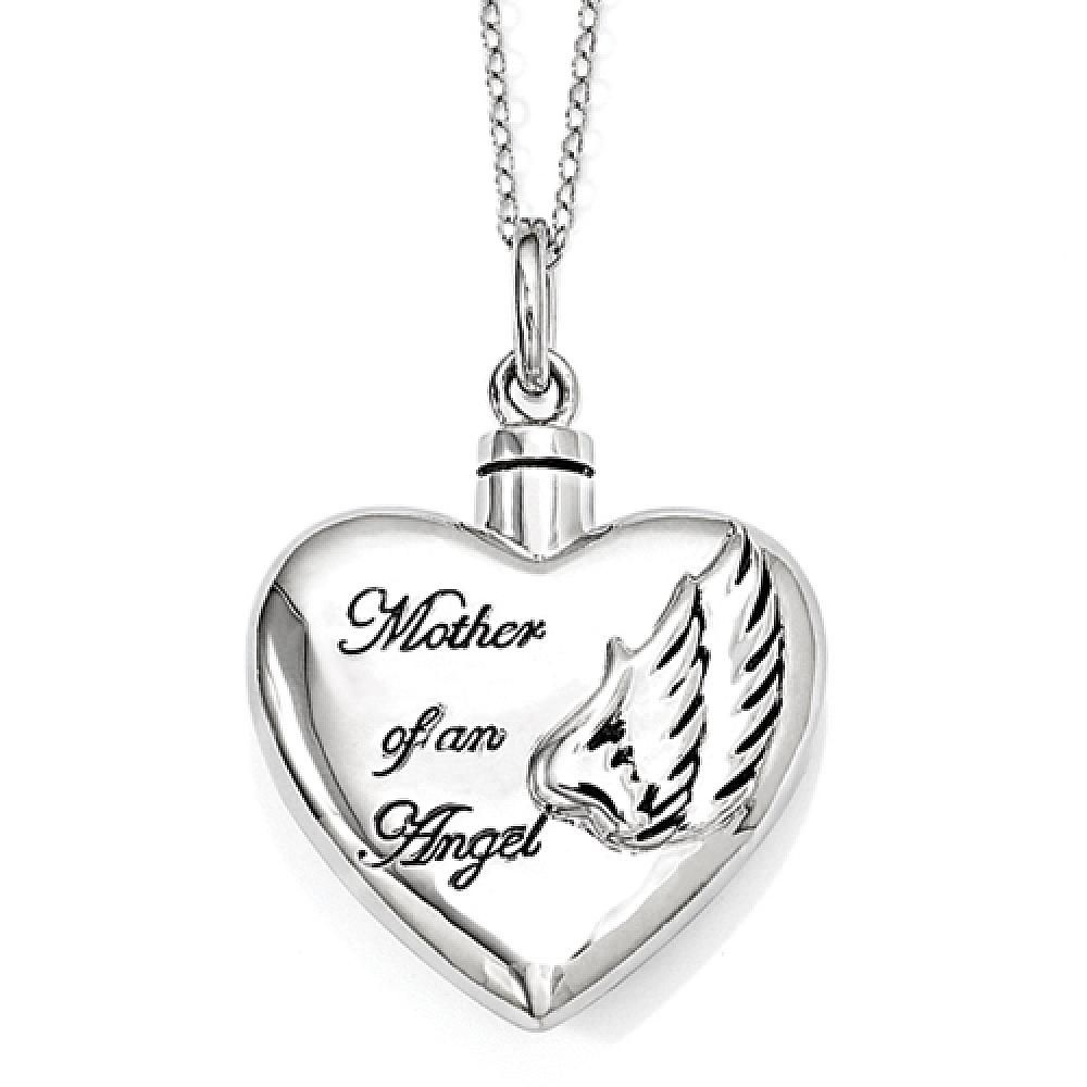 Cremation jewelry for ashes cremation necklace sterling silver mother of an angel cremation necklace free shipping mozeypictures Images