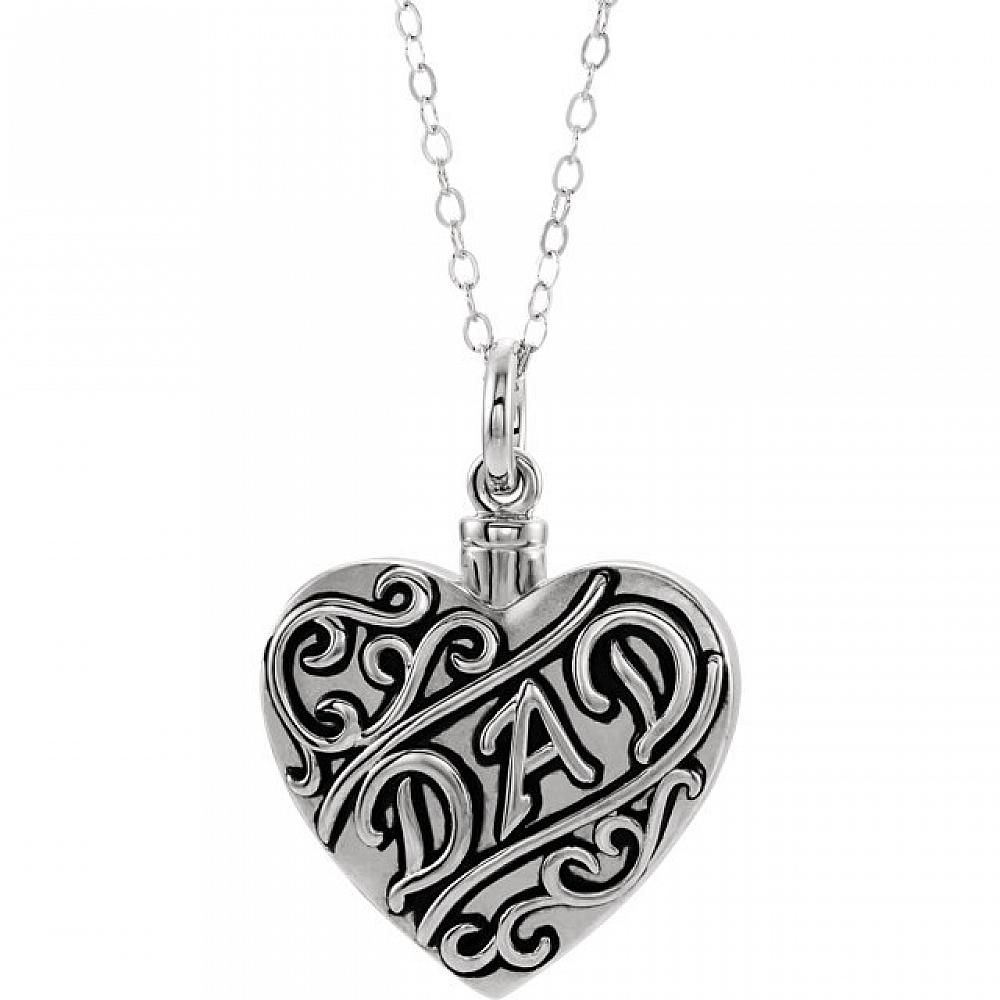 Dad Sterling Silver Cremation Necklace Heart Shaped Ash Holder Free Shipping