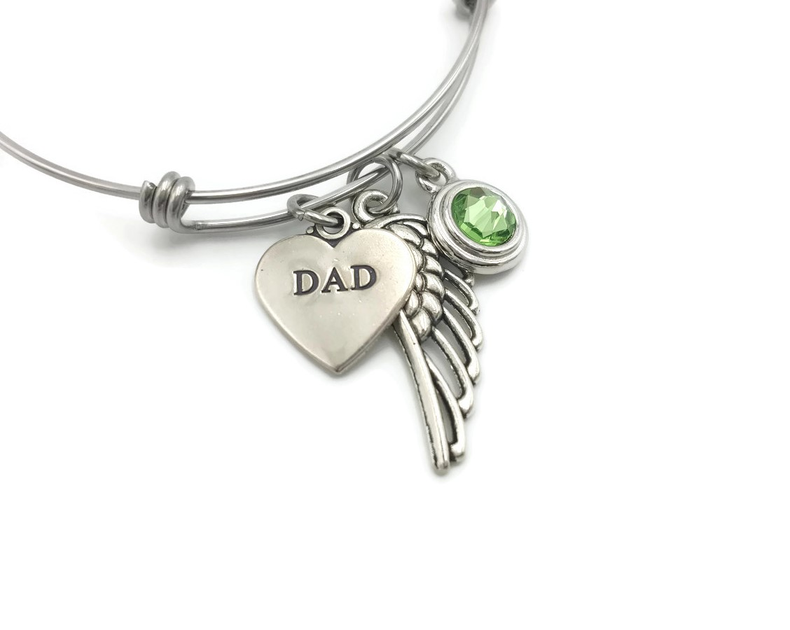 Memorial Bangle Bracelet for Loss of Dad - Memorial Gift Idea - Free Shipping