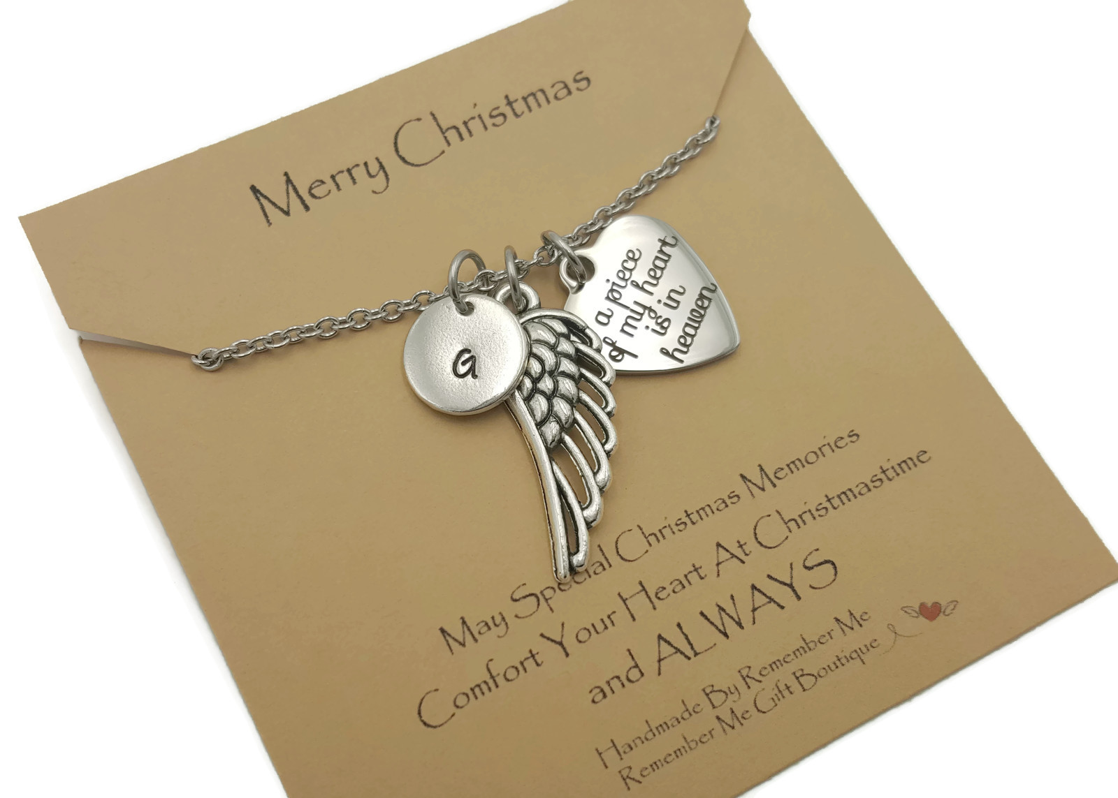 Merry Christmas A Piece Of My Heart is in Heaven Memorial Necklace