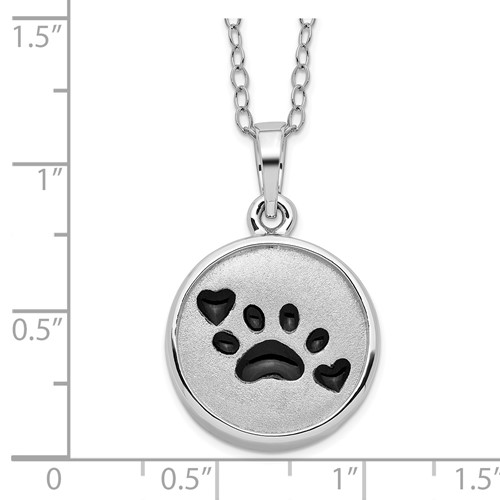 Sterling Silver Enameled Paw Print Ash Holder 18in Necklace - Free Shipping