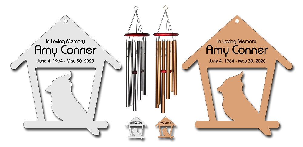 Cardinal Memorial Wind Chimes - Personalized Memorial Wind Chimes - Free Shipping