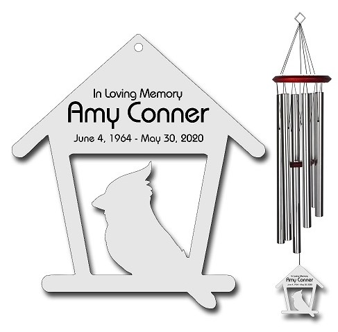 Cardinal Memorial Wind Chimes - Personalized Memorial Wind Chimes - Silver