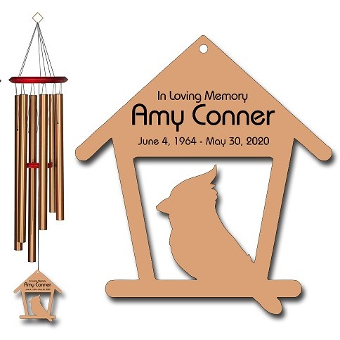 Cardinal Wind Chimes - Personalized Memorial Wind Chimes Bronze