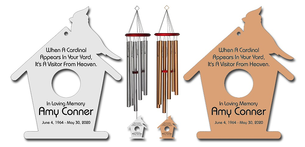 Personalized Memorial Wind Chimes - Cardinal Wind Chime