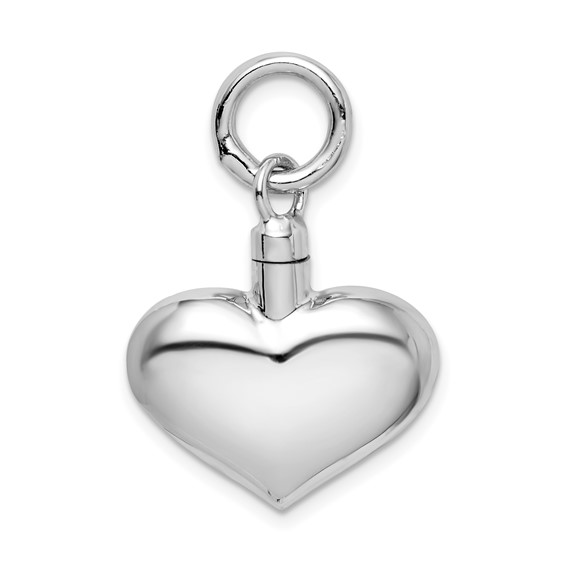 Sterling Silver Polished Puffed Heart Urn Pendant for Ashes