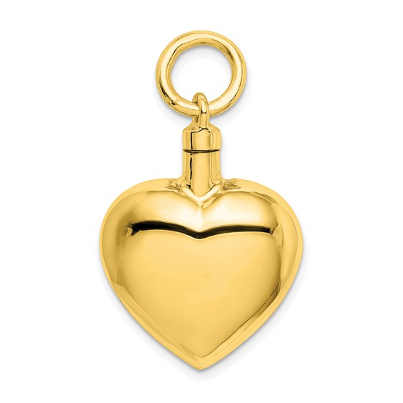 Heart Shaped Urn Pendant for Ashes - Sterling Silver Gold Plated