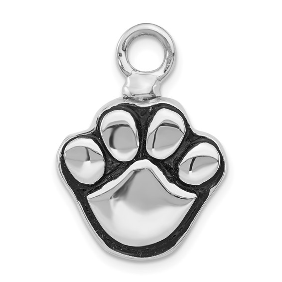 Paw Shaped Urn Pendant for Ashes - Enameled Sterling Silver