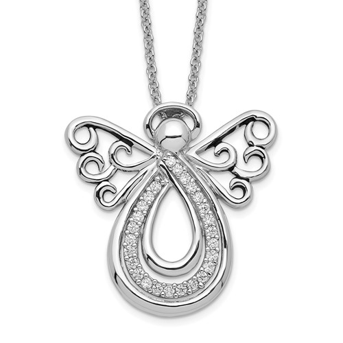 Sterling Silver Angel of Comfort Remembrance Necklace - Angel Wing Jewelry