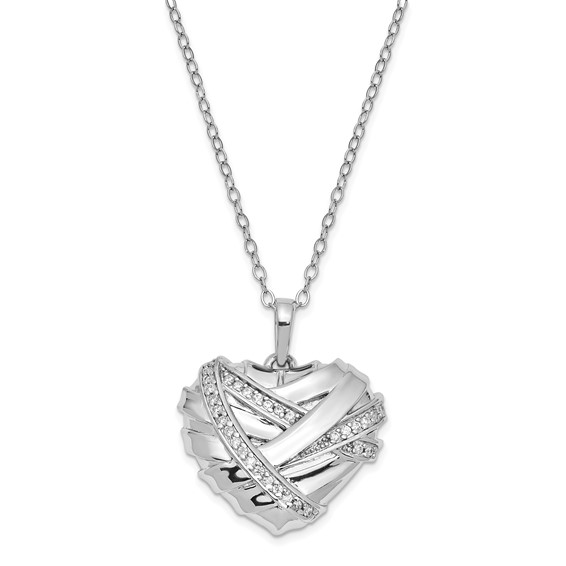 Sterling Silver CZ Banded Heart Ashes Necklace - Free Shipping
