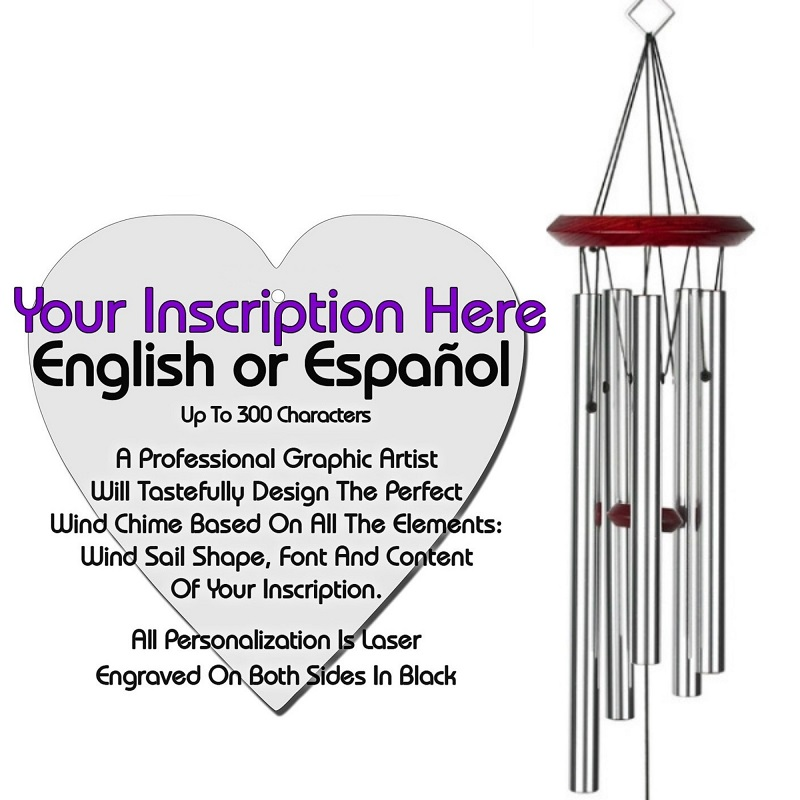 Personalized Memorial Wind Chimes - Heart Silver