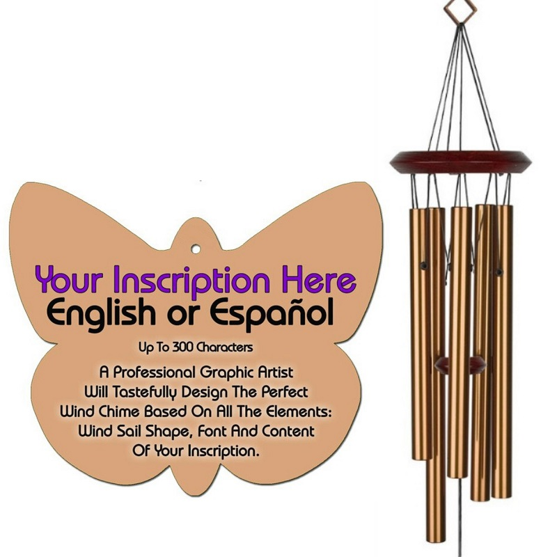 Personalized Memorial Wind Chimes - Butterfly Bronze