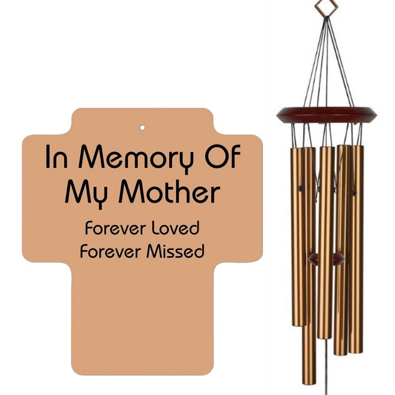 Mother Memorial Wind Chime - Cross Bronze
