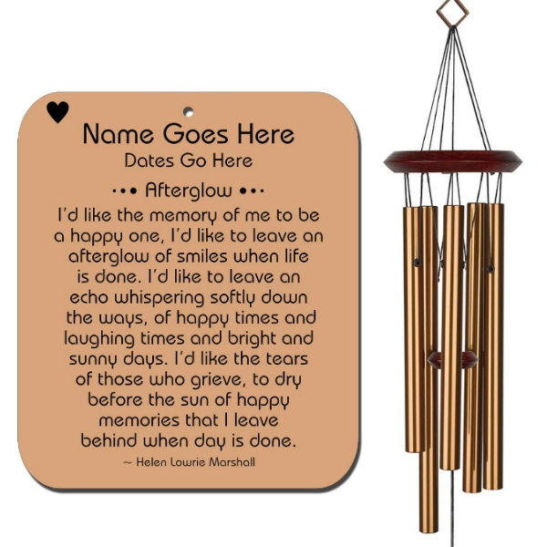 Personalized Memorial Wind Chime - Afterglow Bronze