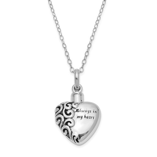 Always In My Heart Cremation Jewelry for Ashes in Sterling Silver by Deborah Birdoes