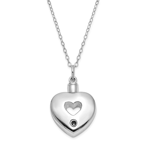 Antiqued Heart Ashes Necklace in Sterling Silver