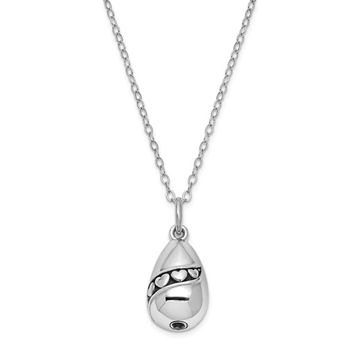 Antiqued Tear of Love Ashes Necklace in Sterling Silver
