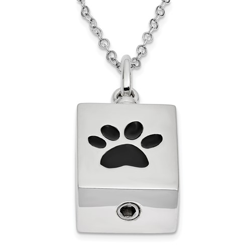 Sterling Silver Antiqued Black Paw Box Pet Ashes Necklace - Free Shipping