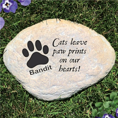 Personalized Pet Memorial Garden Stones - Paw Prints On Our Heart Cat - Free Shipping