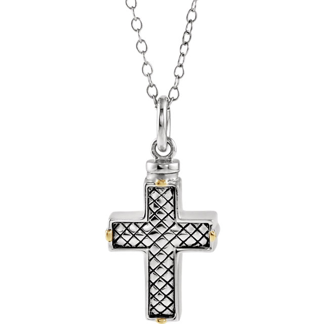 Checkerboard Cross Ashes Necklace in Sterling Silver