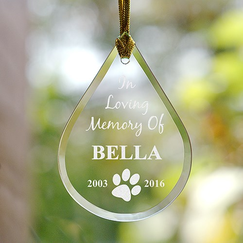 Pet Memorial Tear Drop Ornament - In Loving Memory