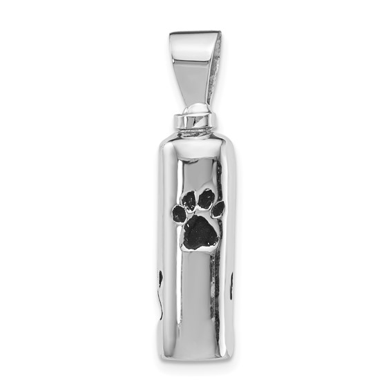 Paw Print Pet Urn Pendant for Ashes Enameled - Sterling Silver