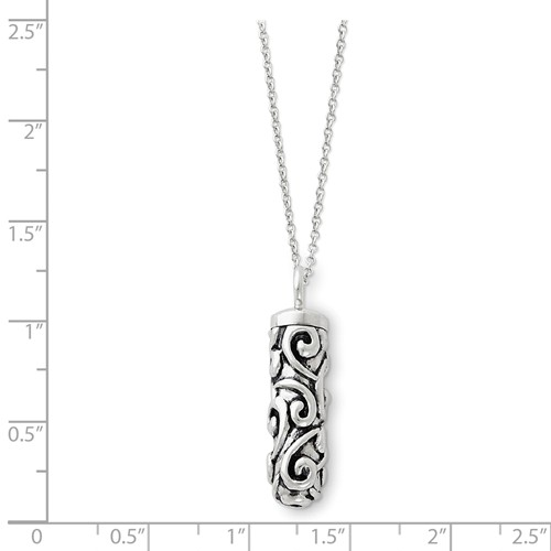 Sterling Silver Antiqued Cylinder Remembrance Ash Holder Necklace - Free Shipping