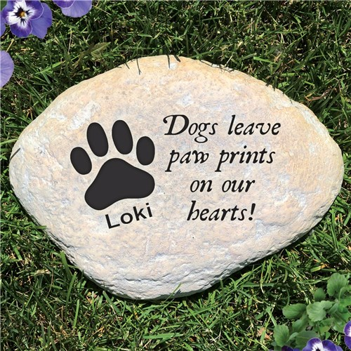 Personalized Pet Memorial Garden Stone - Paw Prints On Our Hearts Dog - Free Shipping