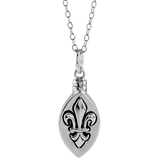 Fleur de Lis Ash Holder Pendant and Chain Cremation Jewelry - Free Shipping