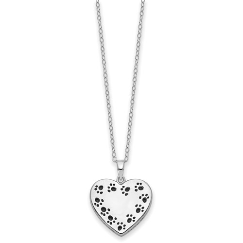 Sterling Silver Pawprint Bordered Heart Urn Necklace - Free Shipping