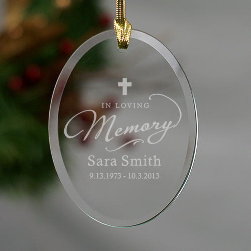 In Loving Memory Glass Personalized Christmas Memorial Ornaments
