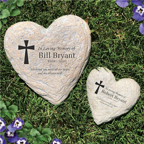 Personalized Memorial Garden Stone Heart Shaped - Memorial Gift Idea