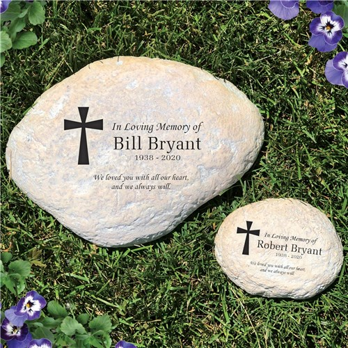 Engraved In Loving Memory Cross Personalized Memorial Garden Stone