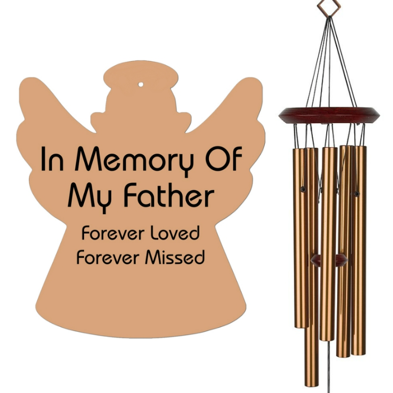 Angel Wind Chimes - Memorial Wind Chimes for Father - Bronze, Urn Available, Free Shipping