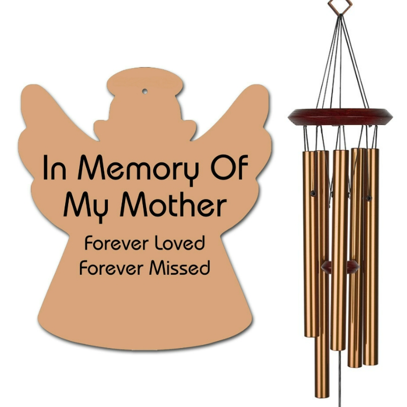 Angel Wind Chimes - Memorial Wind Chimes Mother Bronze - Urn Available