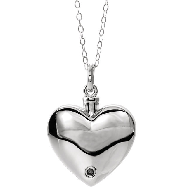 Mom Sterling Silver Cremation Necklace - Heart Shaped Ash Holder Pendant - Free Shipping