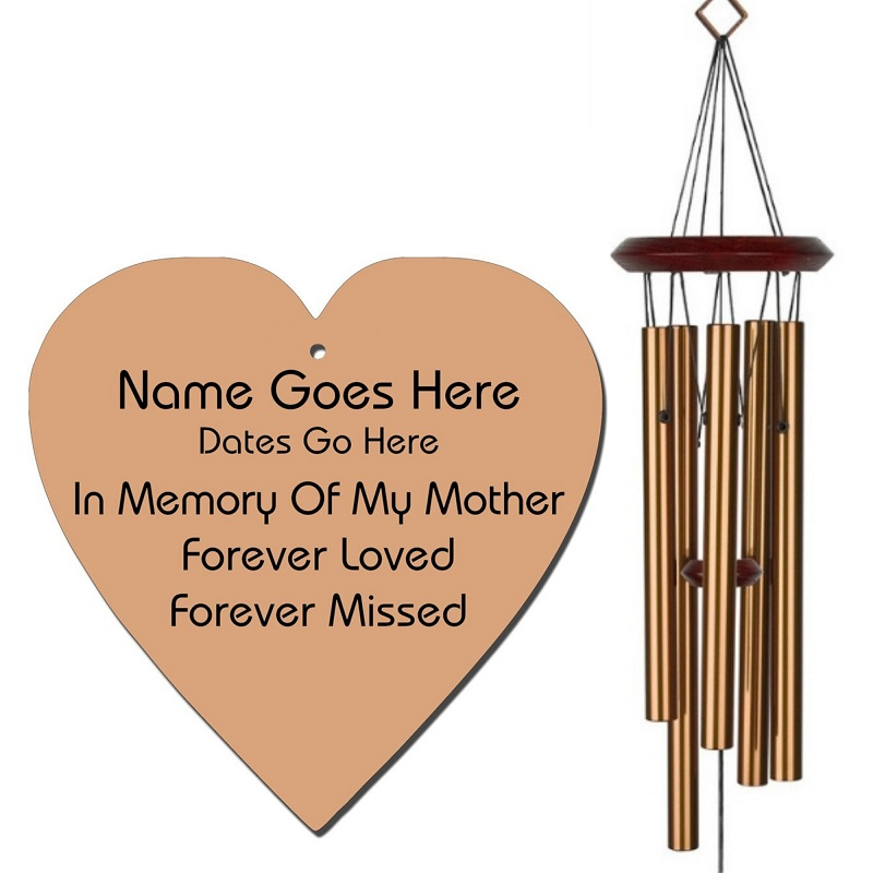 Mother Memorial Wind Chime - Heart Shaped