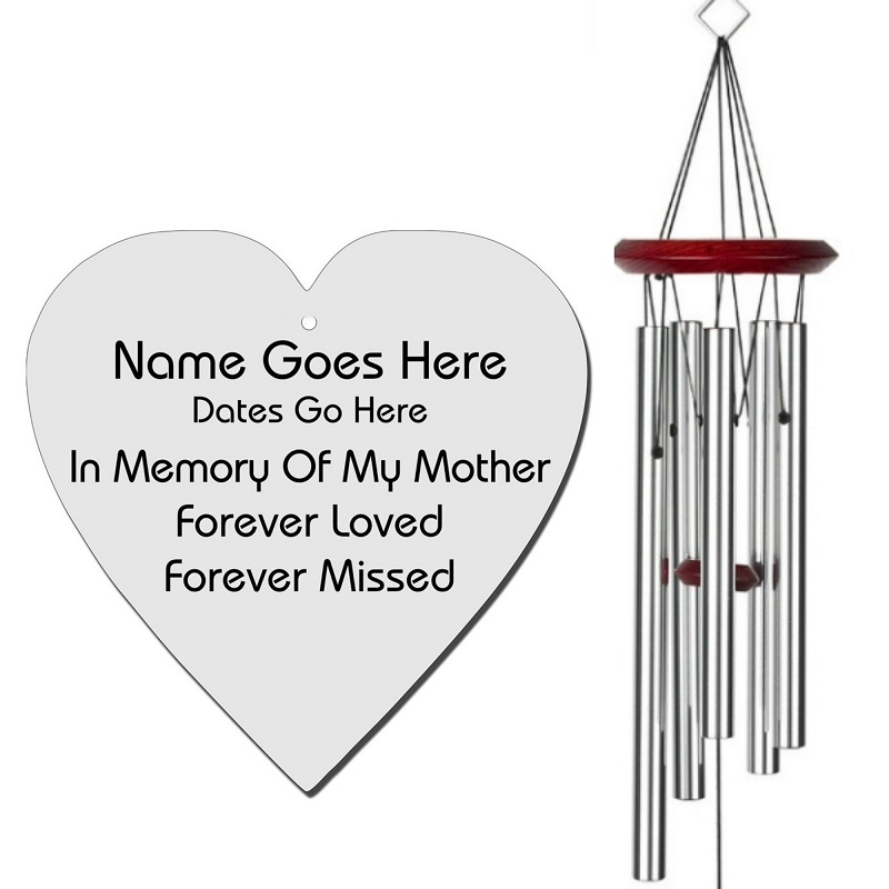 Mother Memorial Wind Chime - Heart Shaped Silver