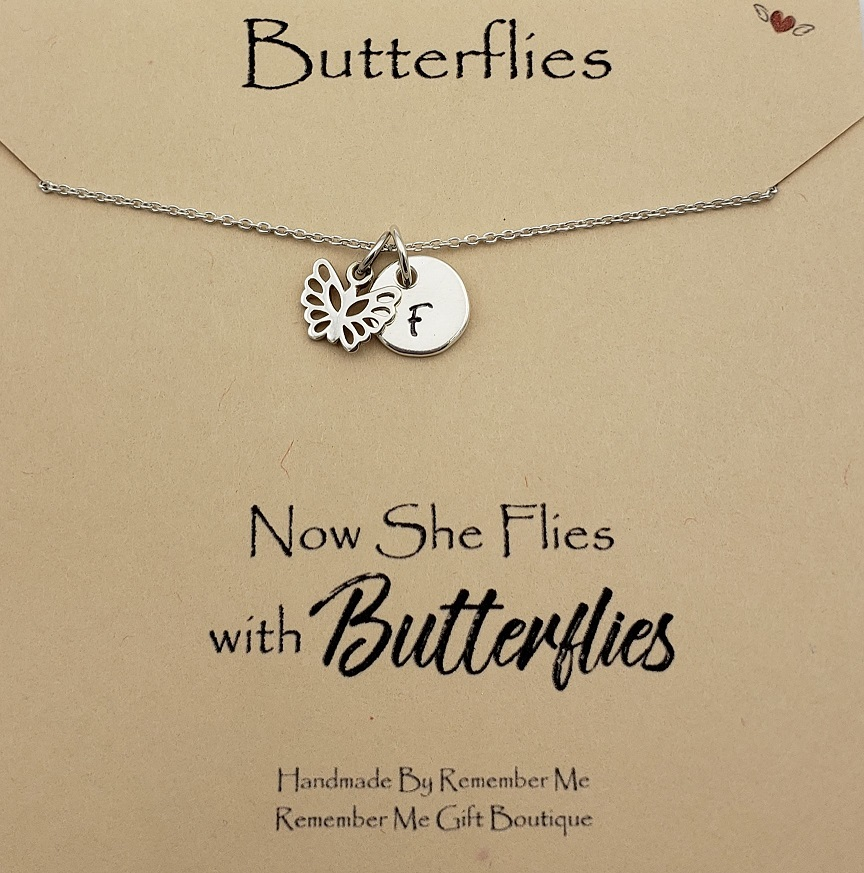 Now She Flies With Butterflies Remembrance Necklace - Free Shipping