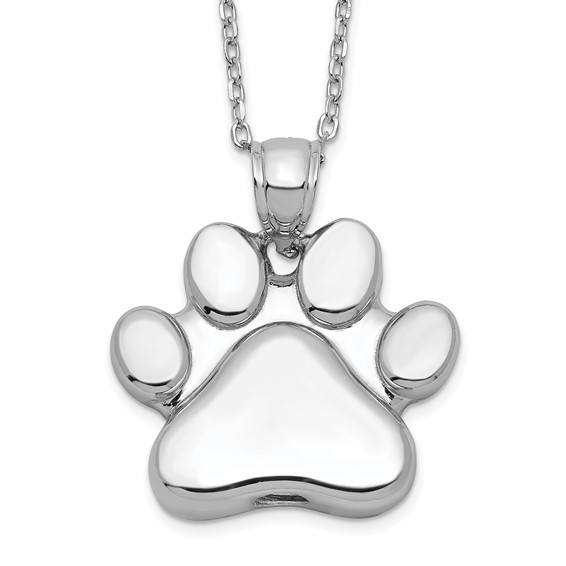 """Sterling Silver Paw Print Ash Holder Necklace with 18"""" chain - Free Shipping"""