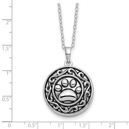 Sterling Silver Antiqued Paw Ash Holder 18in Necklace - Pet Cremation Jewelry