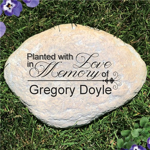 Planted with Love In Memory Personalized Memorial Garden Stone