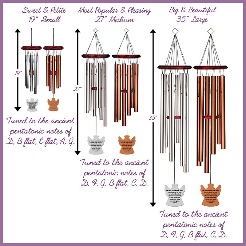 Angel Wind Chimes - Grieve Not Memorial Bronze - Urn Available