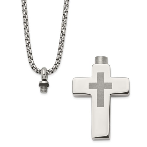 Stainless Steel Cross Ashes Necklace - Free Shipping