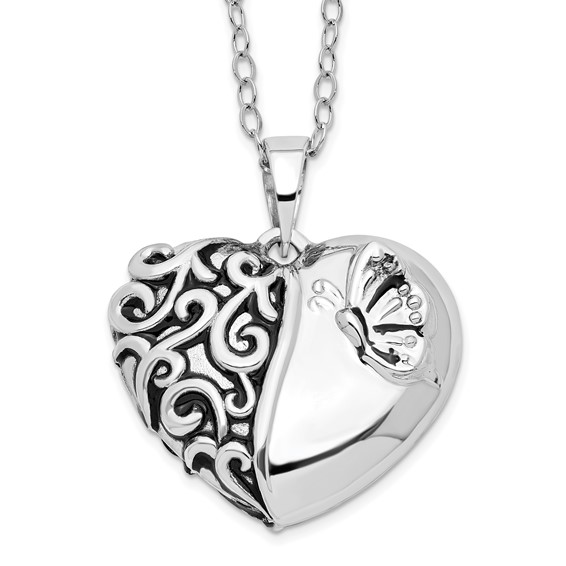 Sterling Silver Butterfly Heart Ashes Necklace - Free Shipping