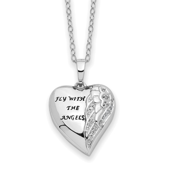 Sterling Silver CZ Fly With Angels Heart Ashes Necklace