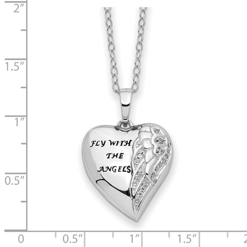 Sterling Silver CZ Fly With Angels Heart Ashes Necklace - Free Shipping